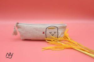 túi vải handmade hình cái cốc màu ghi 1