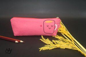 túi vải handmade hình cái cốc màu hồng 1