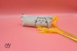 túi vải handmade hình con mèo màu ghi 1
