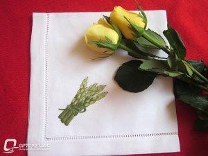 khăn ăn thêu tay hình măng tây