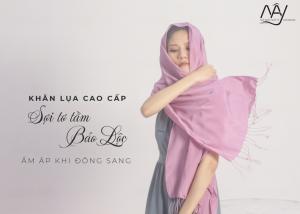 khăn lụa tơ tằm cao cấp màu hồng 2