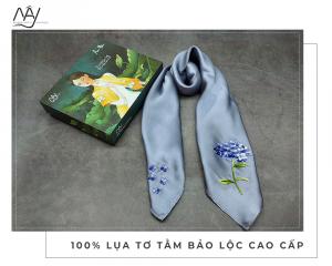 khăn lụa thêu tay cẩm tú cầu màu ghi 1