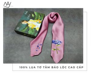 khăn lụa thêu tay cẩm tú cầu màu hồng tím 1