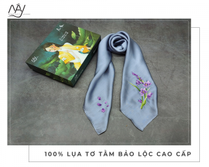 khăn lụa thêu tay hoa lan tím màu ghi 1
