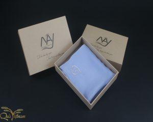 quà tặng đối tác khăn thêu lá bồ đề màu xanh
