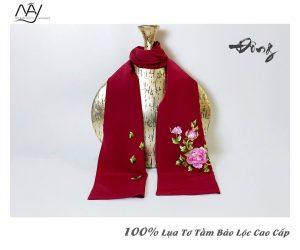 khăn lụa tơ tằm thêu tay hoa mẫu đơn màu đỏ 3