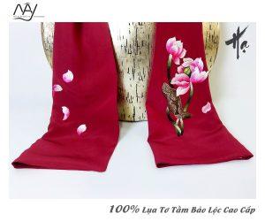 quà tặng đối tác nước ngoài khăn thêu hoa sen màu đỏ 3