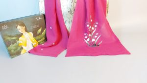 khăn lụa thêu tay hoa linh lan tím 3