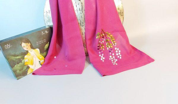 khăn lụa thêu tay hoa mimosa tím21