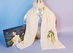 khăn lụa thêu tay mimosa vàng 1