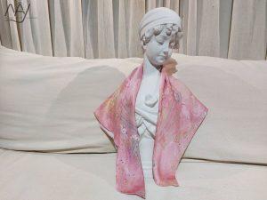 khăn lụa tơ tằm vẽ tay sóng biển vân mây hồng 5