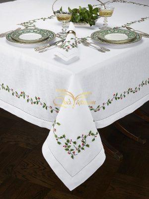 khăn trải bàn thêu tay cao cấp họa tiết giáng sinh 1