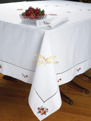 khăn trải bàn thêu tay họa tiết chùm dâu 2